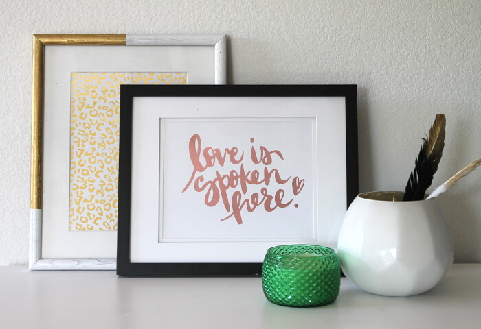 "Make your own metallic foil print! Get the free ""Love is Spoken Here"" printable too!"