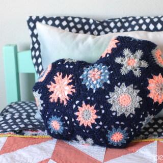 Heart-Shaped Hexagon Pillow Crochet Pattern
