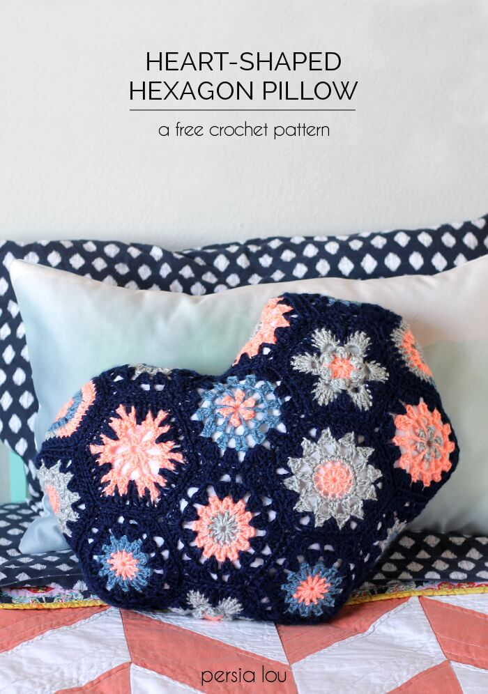 Make a heart-shaped pillow out of crocheted hexagon motifs. Free pattern!