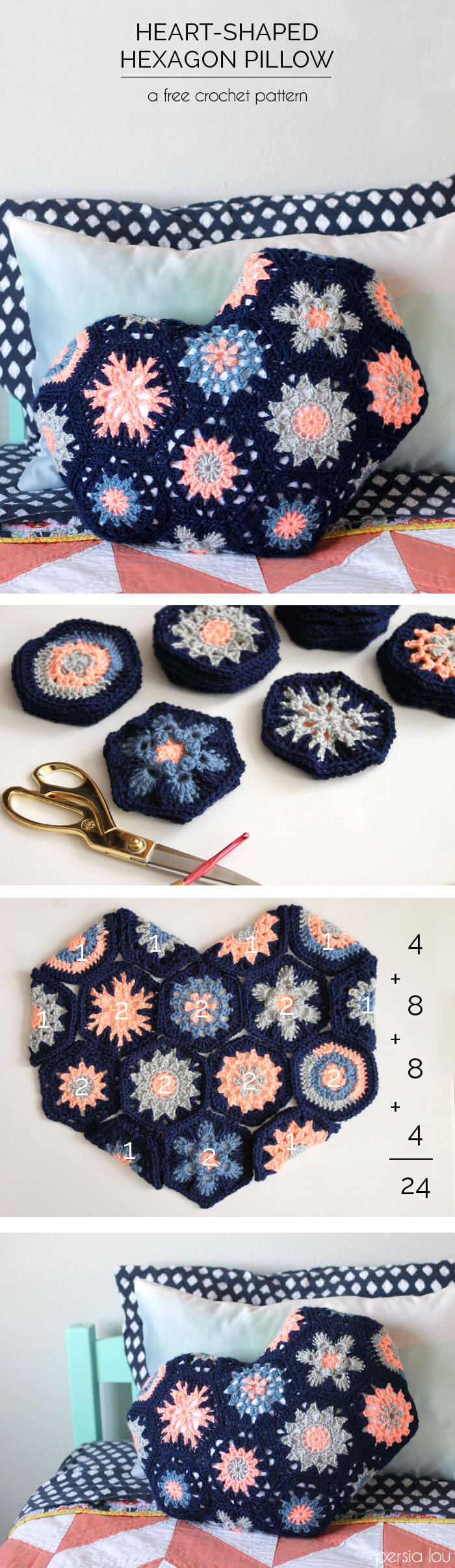 make your own heart shaped pillow from crochet hexagons! Full pattern at Persia Lou