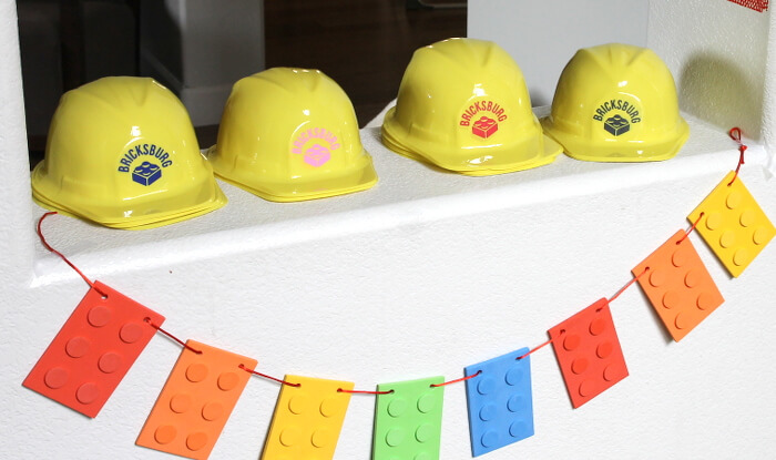 Make cute lego construction party hats!