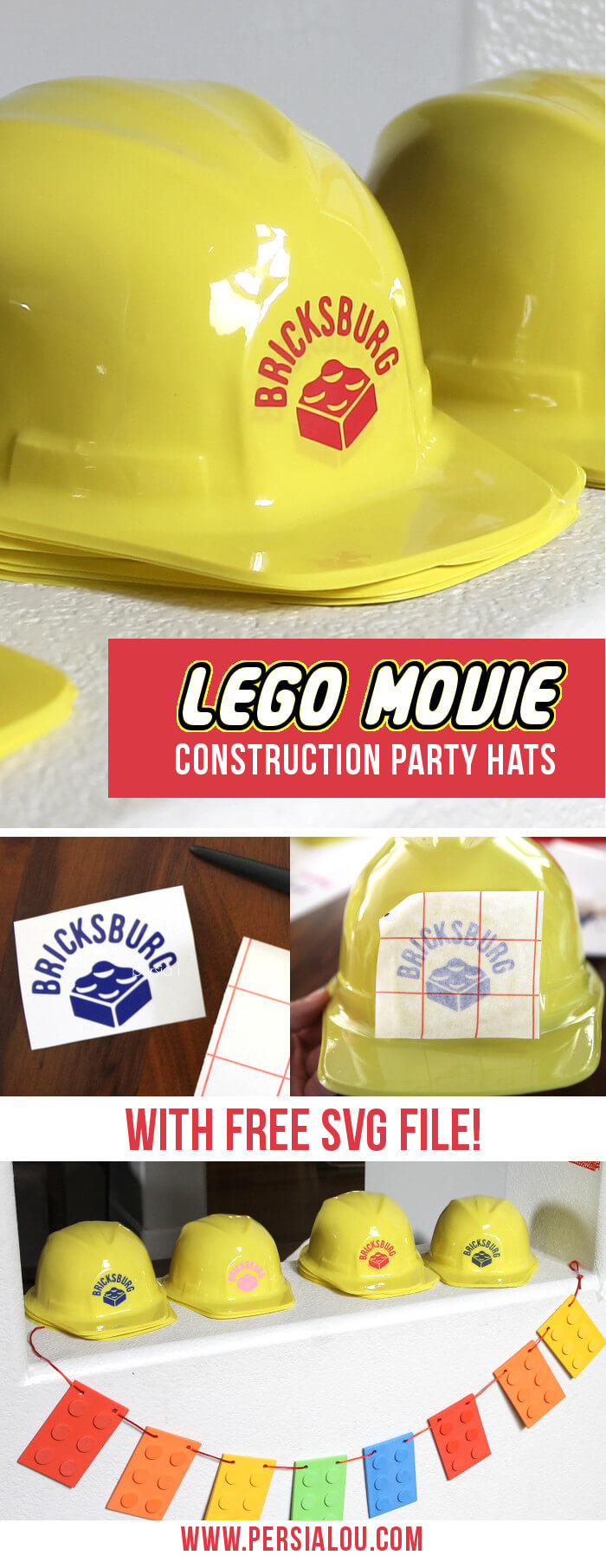 "How cute! Love these ""Bricksburg"" Lego Movie constructions hats! Perfect for a Lego party - there's a free svg cut file for the Silhouette"