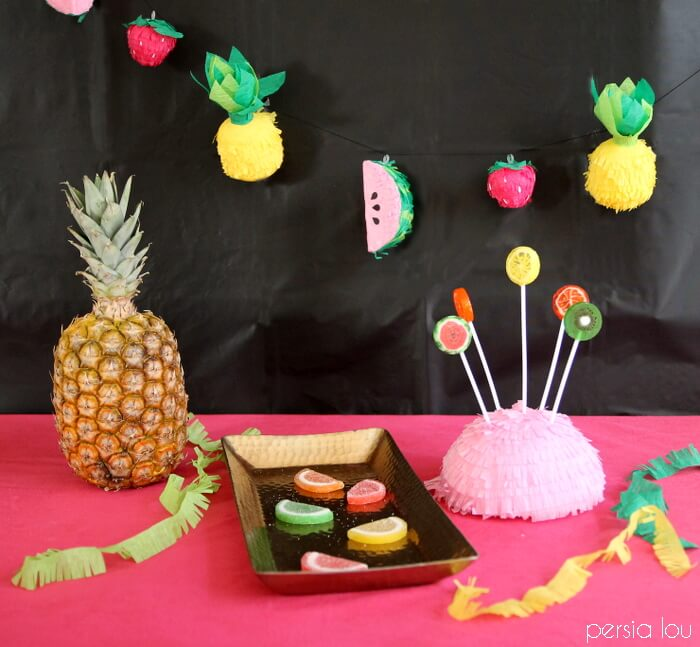 Make your own cute mini fruit faux pinata garland