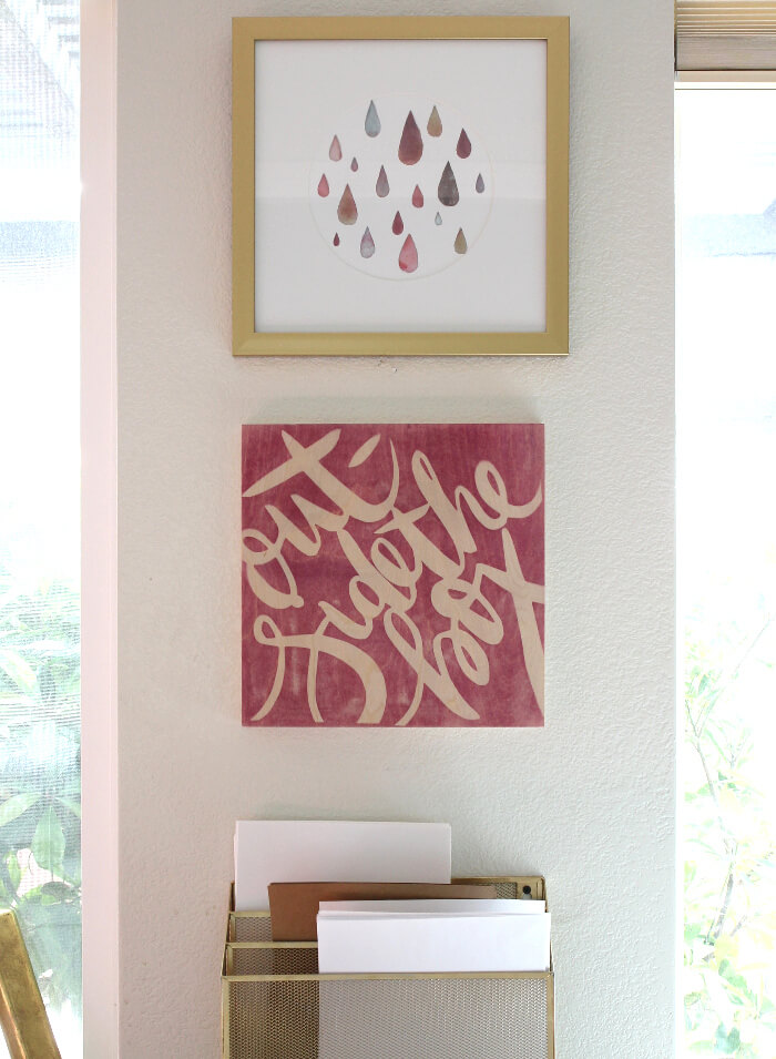 DIY dyed wood wall art
