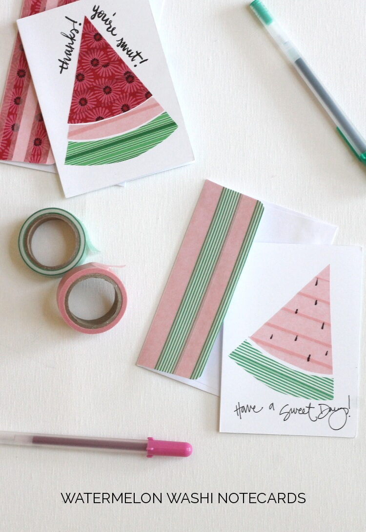 These watermelon cards are so cute! You use washi tape to make the shapes - so cool!