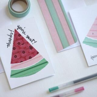 Make watermelon notecards using washi tape