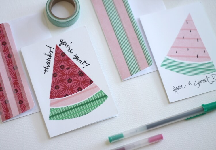 Make watermelon notecards using washi tape