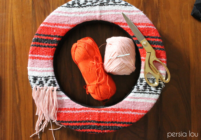 woven blanket summer wreath