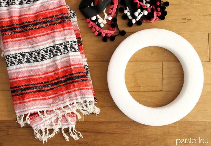 woven blanket wreath