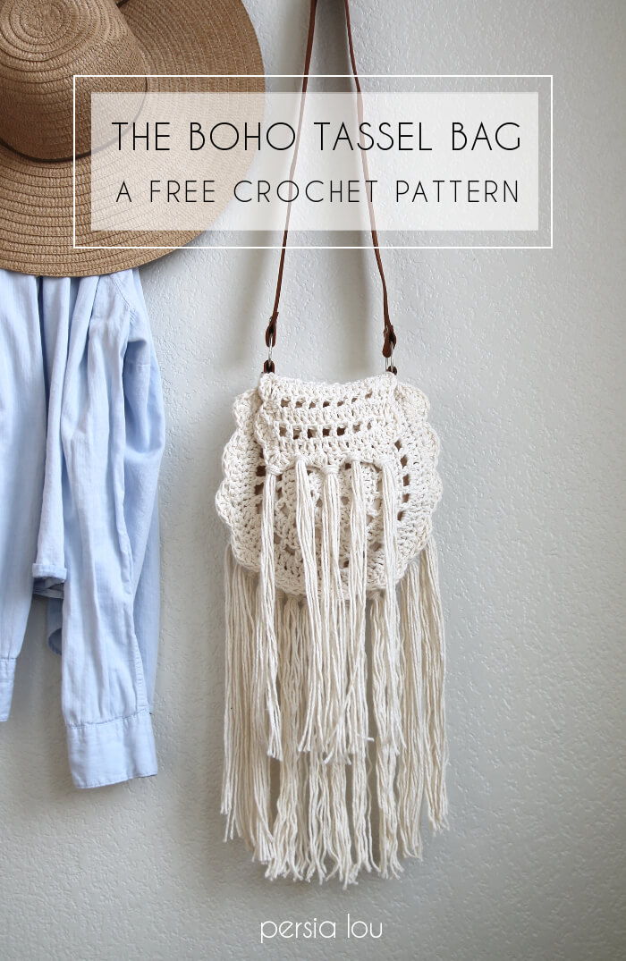 Cute crocheted bag - love all the tassels. Free pattern from Persia ...