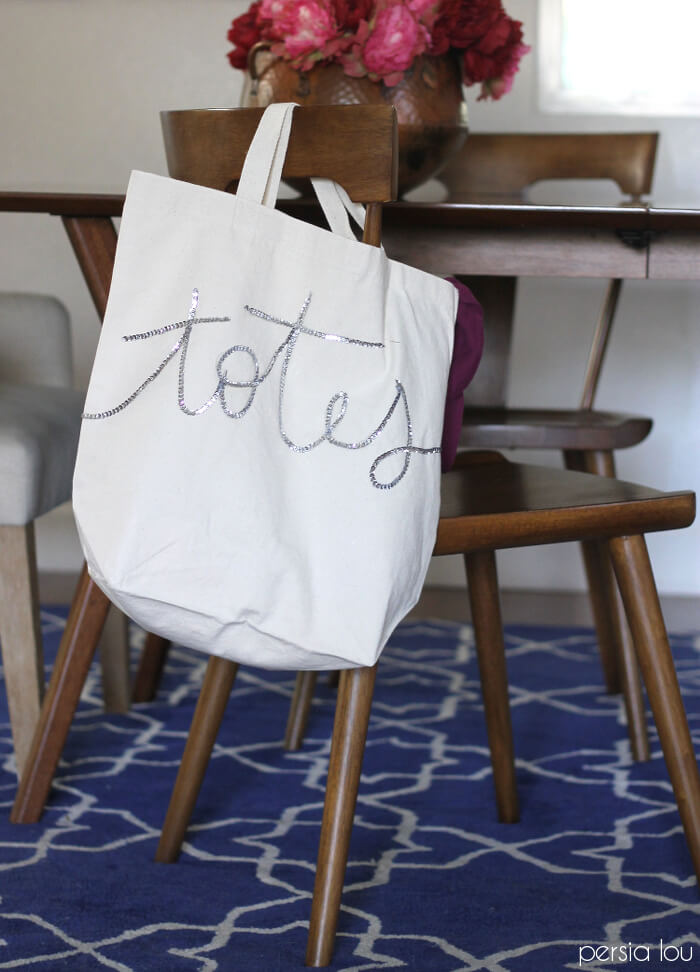 make your own sequined tote bag