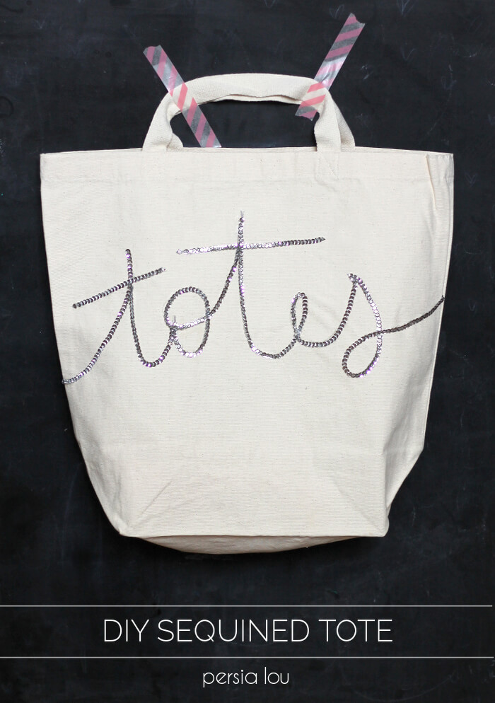 "Make your own sparkly, punny ""totes"" tote bag! Super easy to make"