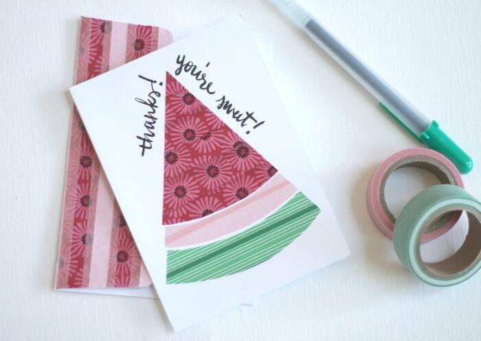 watermelon washi tape cards