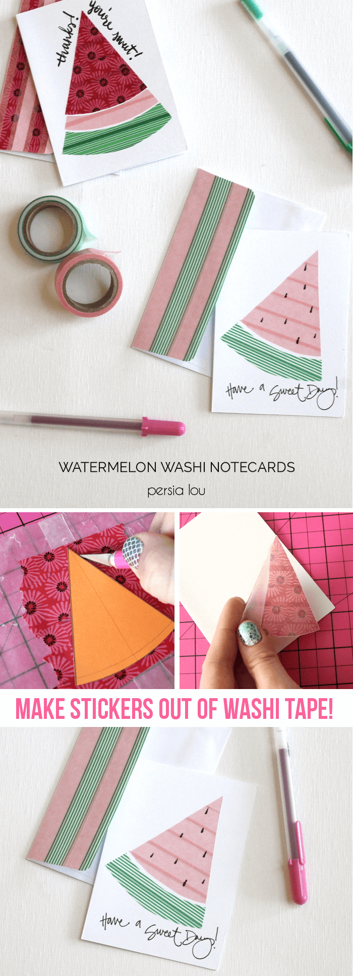 Watermelon Washi Tape NotecardsPersia Lou
