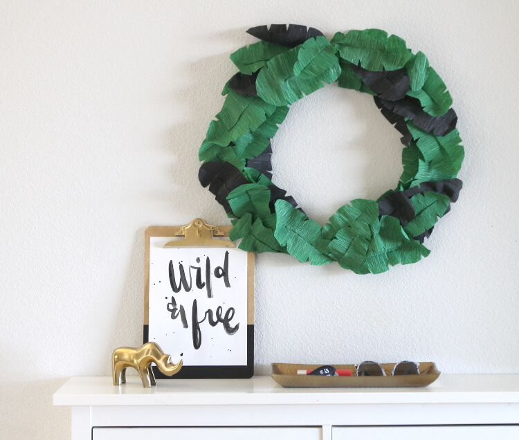 DIY crepe paper banana leaf wreath