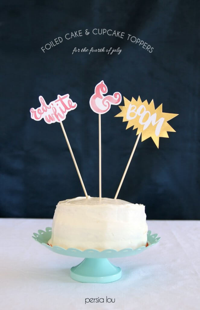 Fourth of July cake and cupcake toppers - love the foiled metallic effect!