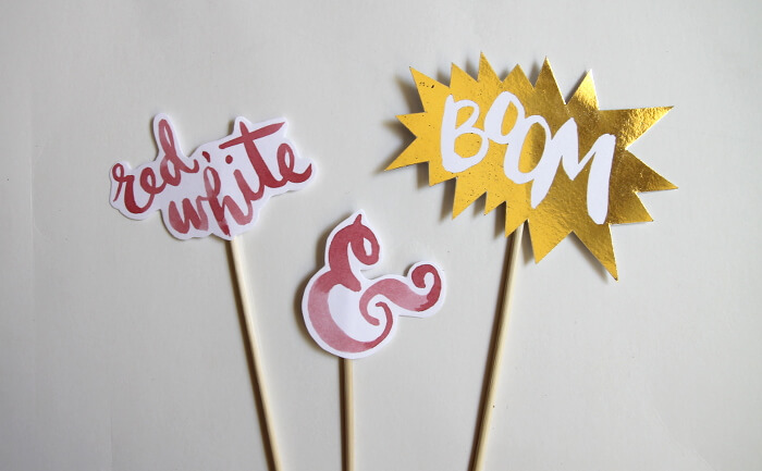 Foiled  Cake and Cupcake Toppers for the Fourth of July