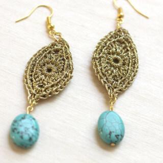 DIY Gold Crochet Earrings