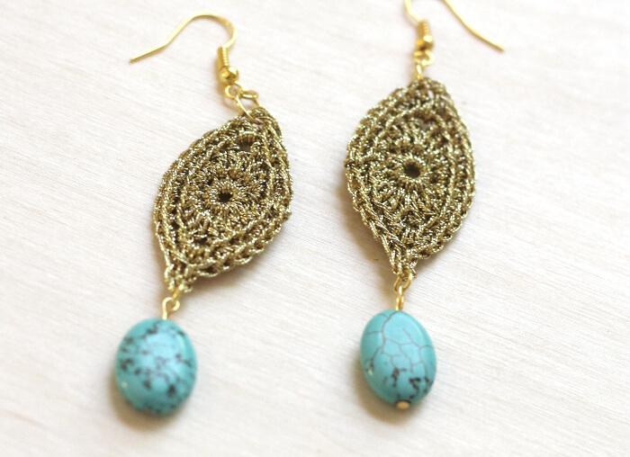 gold crochet earrings