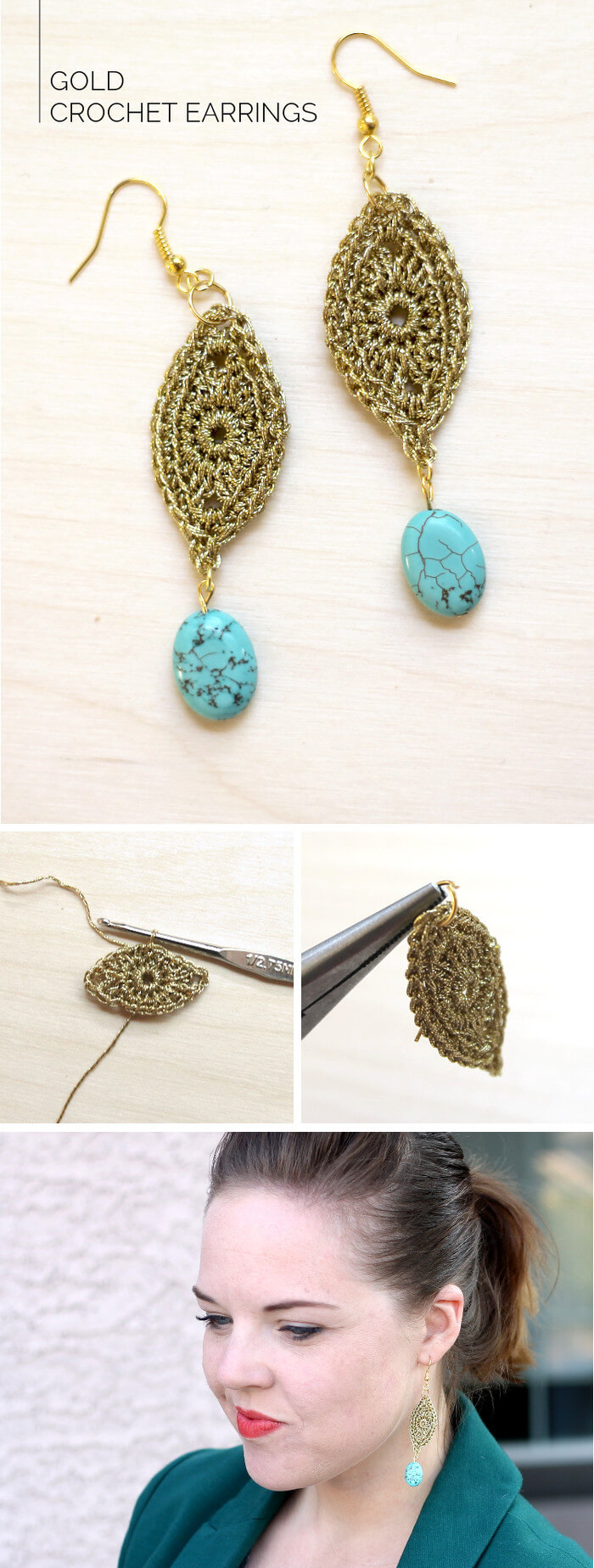 Would you believe these earrings are crocheted?! Get the full tutorial at persialou.com