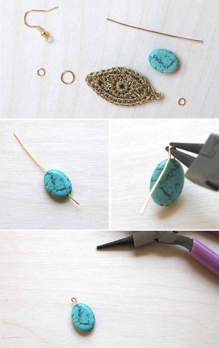 gold crochet earrings