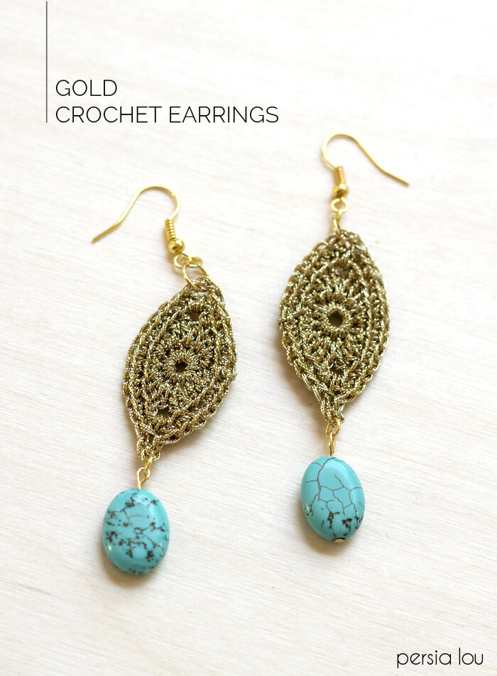 Diy Gold Crochet Earrings Persia Lou