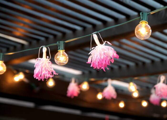 DIY Tissue Tassel String Lights