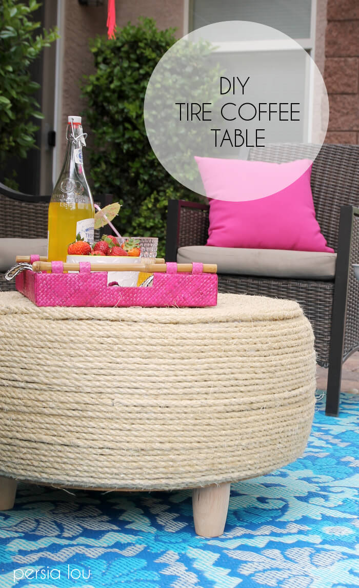 Turn an old tire into a coffee table for your patio!