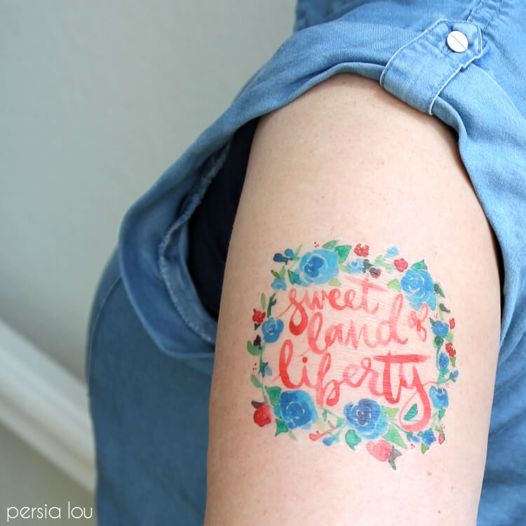 Watercolor Fourth of July Temporary Tattoos