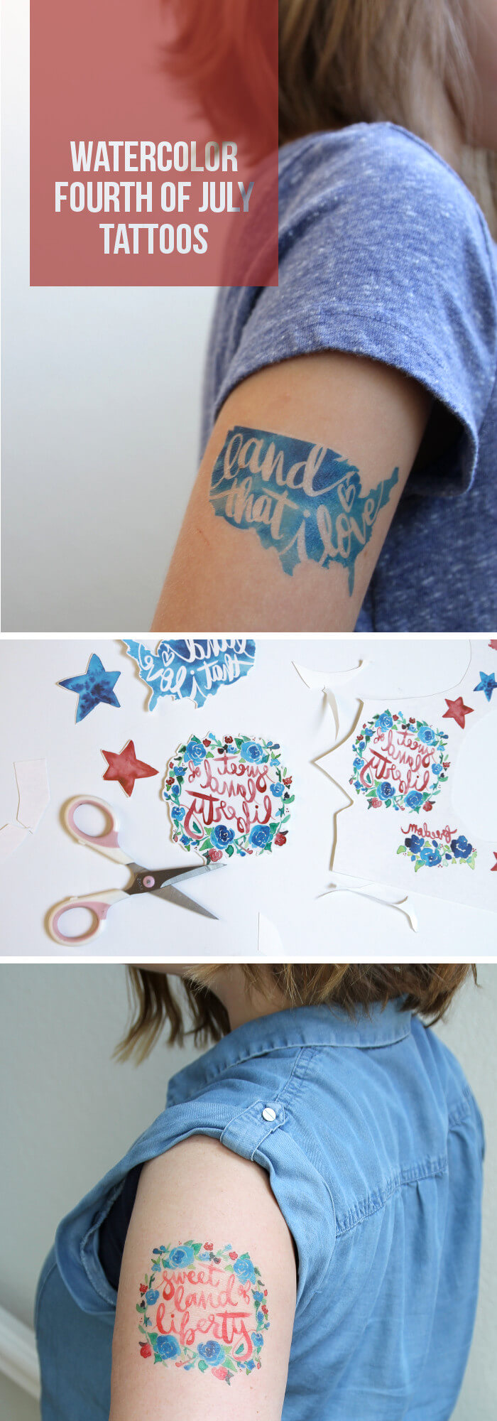 DIY Watercolor Fourth Of July Temporary Tattoos These Are So Cute
