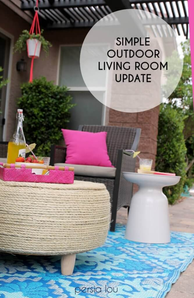 A bright outdoor living room. A simple update with a couple fun DIYs.