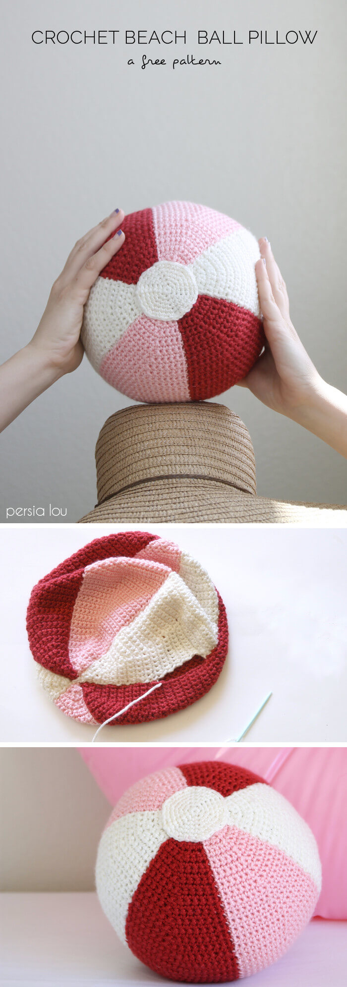 Beach Ball Crochet Pillow - Free Pattern
