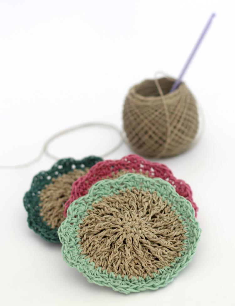crochet hemp scrubbies - free pattern