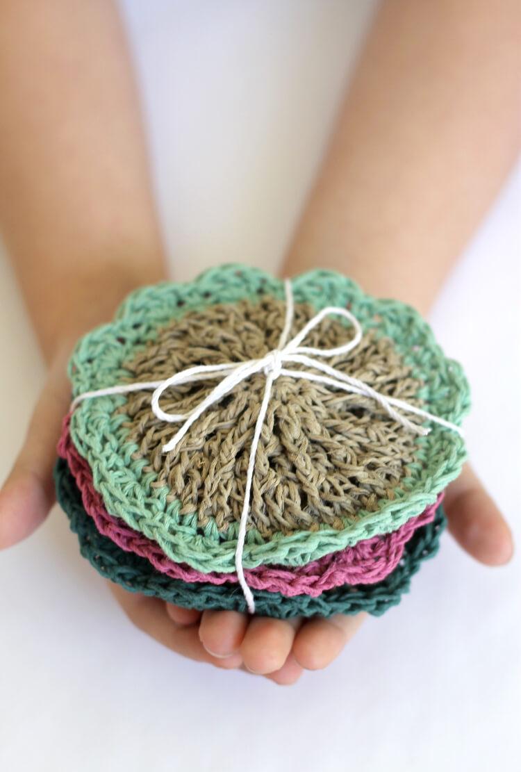 crochet hemp scrubbies