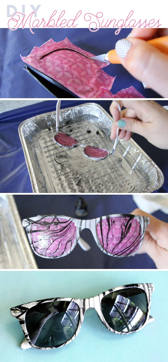 how to make diy marbled sunglasses