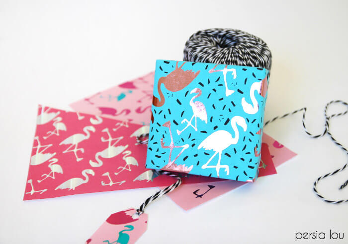 diy metallic wrapping paper with flamingos!