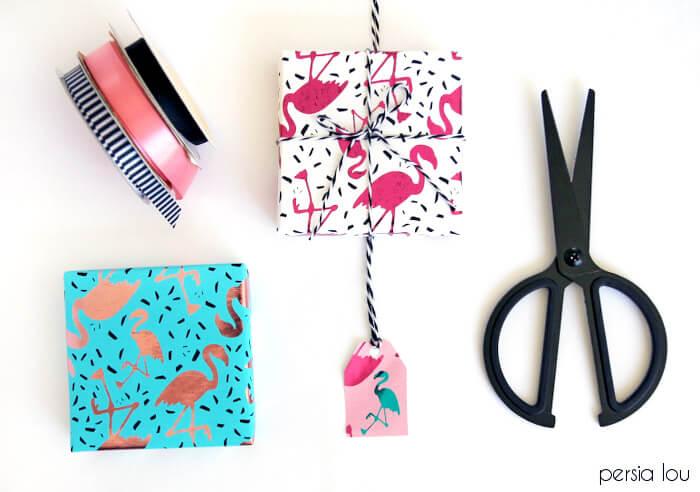 diy metallic wrapping paper - plus flamingos!