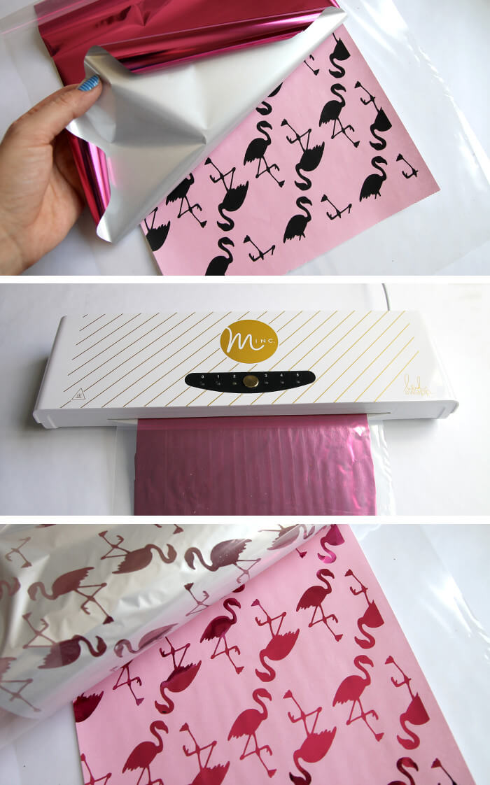 how to make metallic flamingo print wrapping paper. So fun!