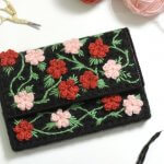 floral plastic canvas clutch