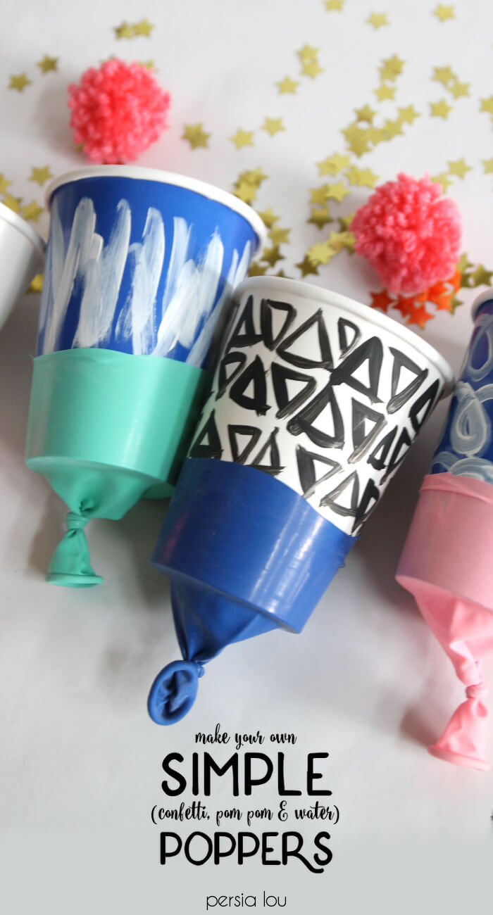Make your own simple confetti or pom pom poppers. Super fun kids' craft