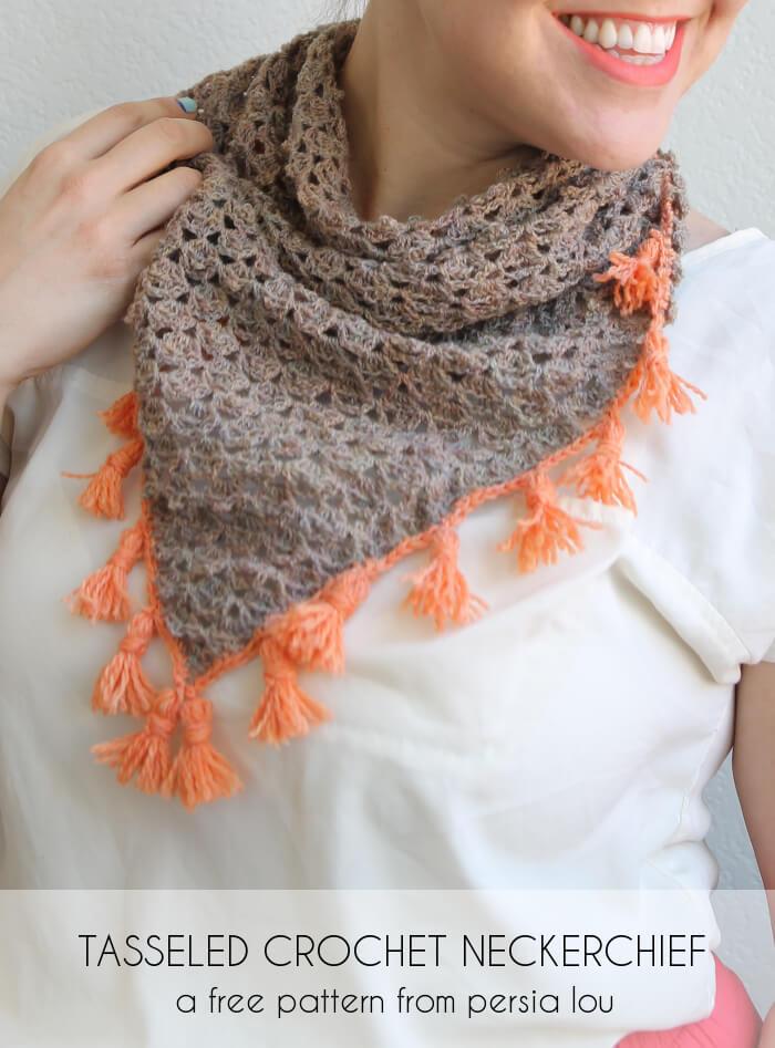 Tasseled Crochet Neckerchief - free crochet pattern.