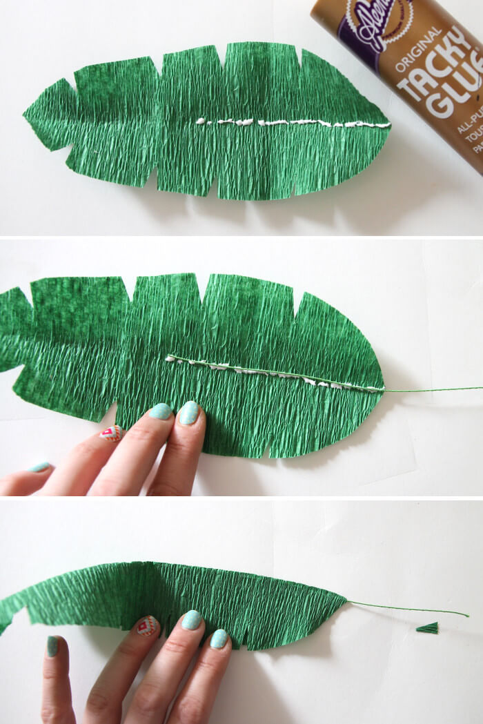 diy crepe paper banana leaves