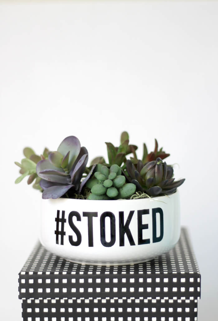 Make your own simple typographical succulent planter - so simple with faux succulents! Customize with a word or phrase.