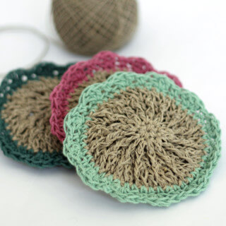 Crocheted Hemp Scrubbies – Free Pattern