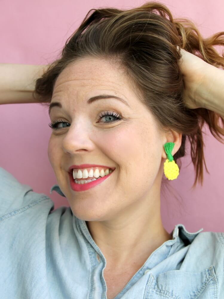 Crochet Pineapple Earrings and Pins: Free Crochet Pineapple Pattern
