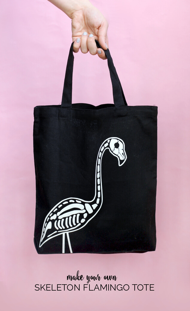 flamingo skeleton tote 1