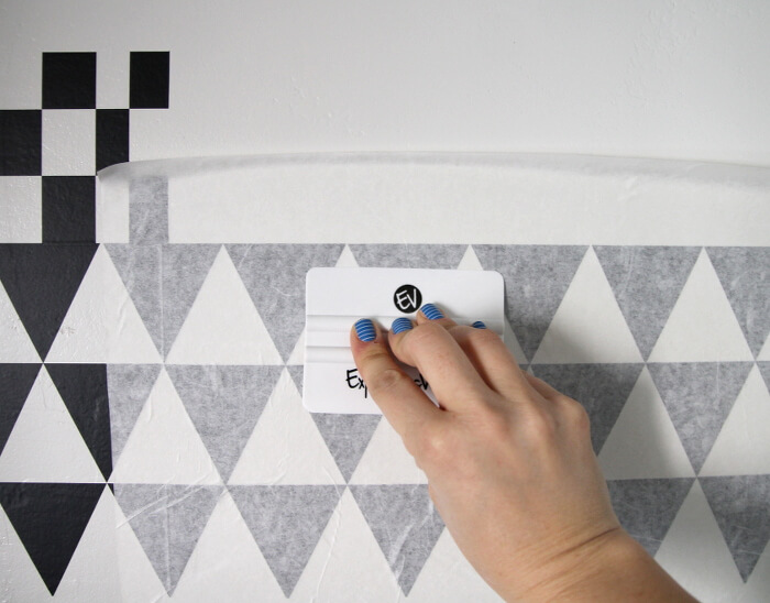 DIY geometric vinyl accent wall