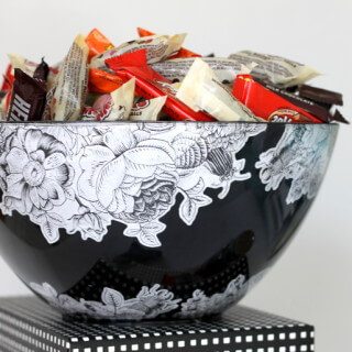 DIY Halloween treat bowl - pretty black and white florals with creepy bugs