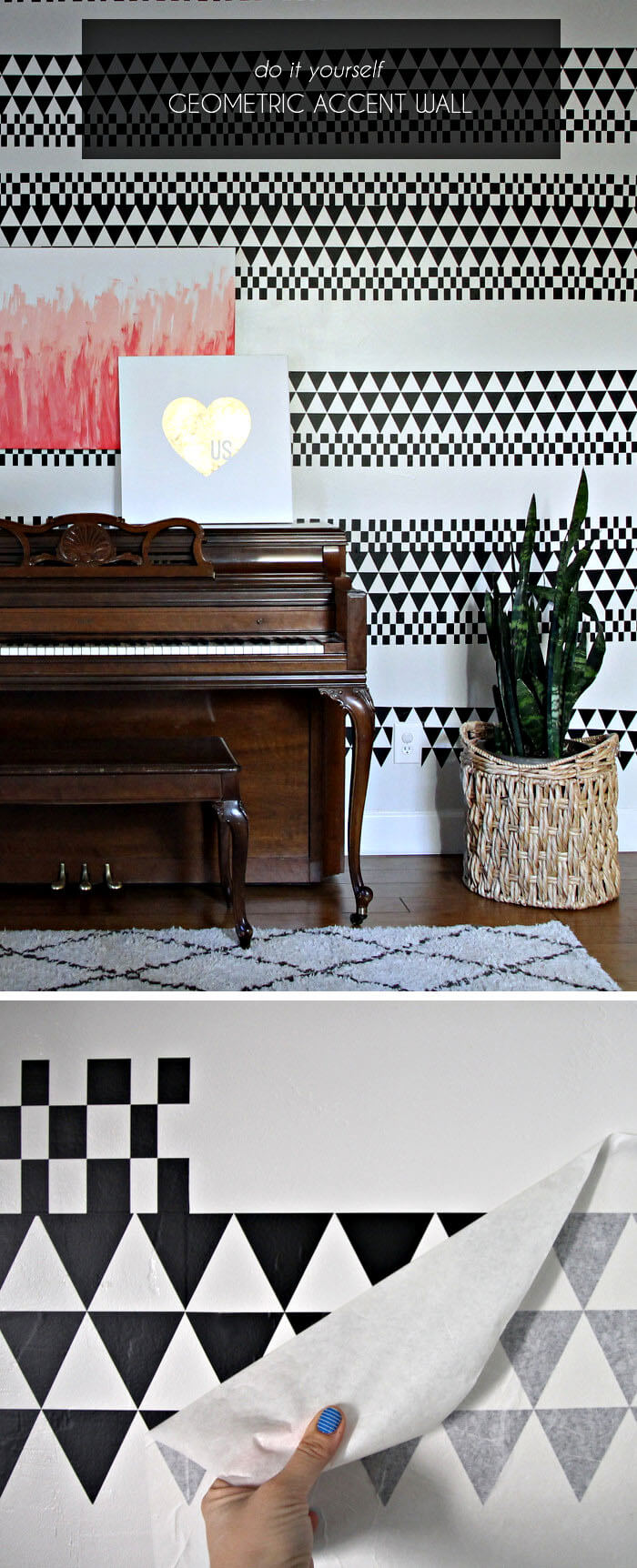 make a geometric accent wall using vinyl - perfect for renters!