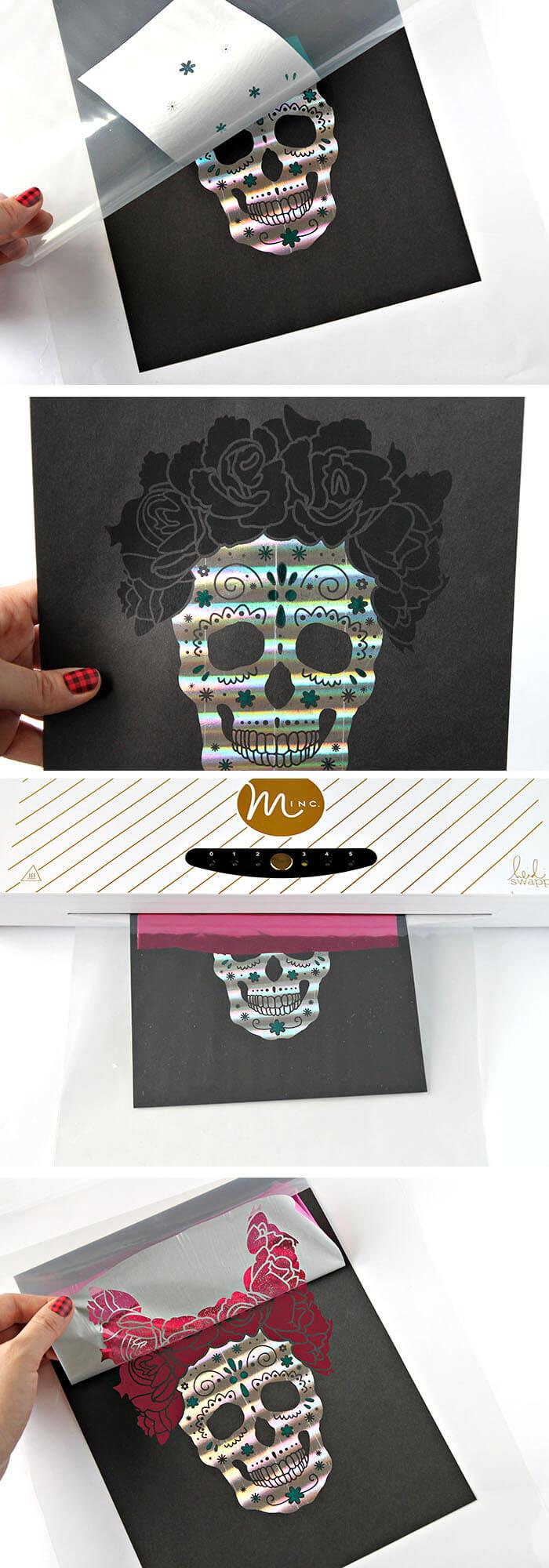 make your own foiled sugar skull prints
